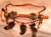 Rustic Style Antler Peace Pipe With Feather Drape