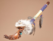 Carved Lizard Beaded Antler Pipe