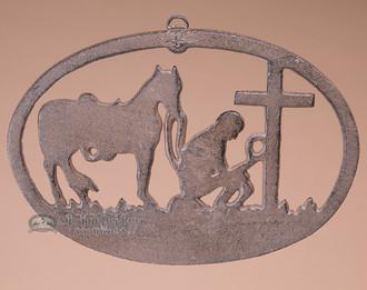 Metal Art Plaque - Cowboy & Cross