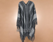 Southwest Long Alpaca V Neck Poncho