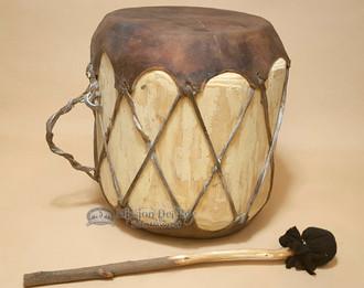 Rawhide Log Drum, rustic, with striker