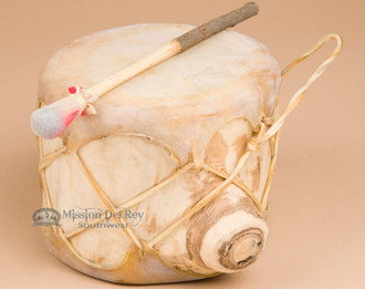 Sweat lodge hand drum, genuine light color rawhide