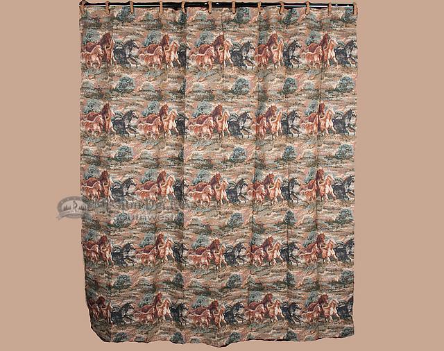 Designer Western Shower Curtain Wild Horses