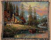 Thomas Kinkade Cabin Throw