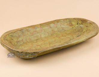Carved wooden bowl - olive.