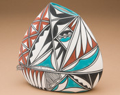 Beautiful Painted Pillow Vase - Tigua