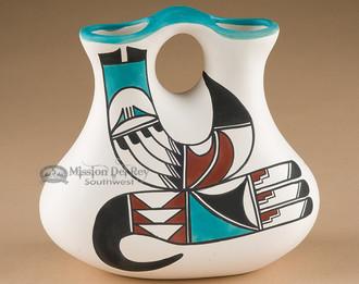 Hand Painted Tigua Wedding Vase - Rainbird