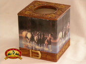 Western running horses tissue cover box.