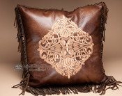 Western Designer Faux Leather Pillow 18x18