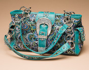 Turquoise Colored Designer Western Embroidered Purse