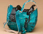Turquoise Leather Saddle Purse