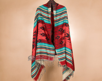 Woven Acrylic Native Shawl -Turquoise & Red Coral