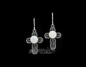 Navajo Sterling Silver Earrings -Opal Crosses