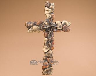 Rustic Stone Look Wall Cross