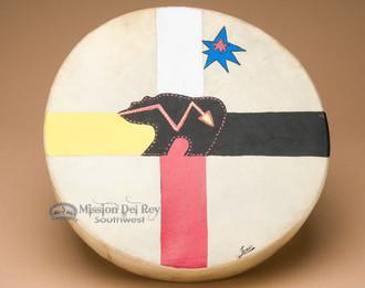 Hand Painted Tarahumara Drum - Four Directions Bear