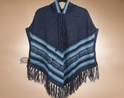 Hooded Alpaca Poncho - Blue