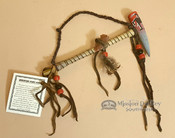 """Native American Painted Antler Draped Pipe 6"""""""