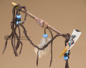 "Navajo Painted Antler Draped Peace Pipe 6"" - Kokopelli"