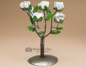 "Rustic Metal Yard Art Rose Bush 12"" - White"