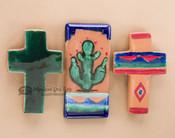 Glazed Saltillo Tile & Cross Magnet Set