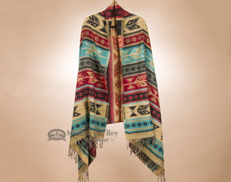 Southwest Native Design Shawl - Turquoise Feather