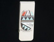Southwestern Zuni Money Clip - Inlaid Stones