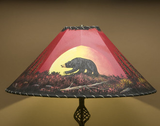 """Western Painted Leather Lamp Shade 24"""" - Moonlit Bear"""
