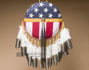 Tigua Indian Gold Leather American Flag Shield
