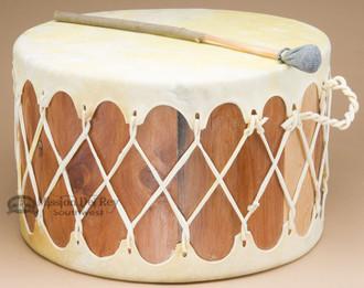 Tarahumara Cedar Drum Table - Light Cowhide