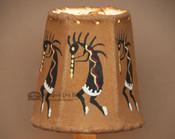 "Painted Leather Chandelier Lamp Shade - Kokopelli 4"""
