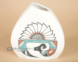 Native American Tigua Pillow Vase -Serpent