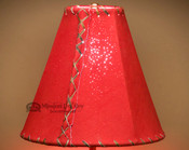 Western Red Leather Lamp Shade