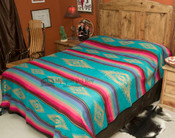 Southwestern Bedspread Saltillo Turquoise -Front