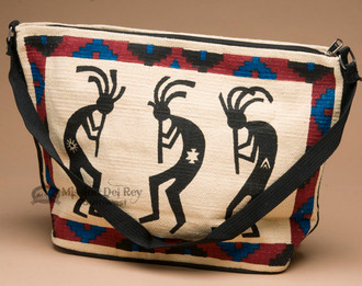 Southwest Design Cotton Purse -Kokopellis White