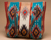 Southwestern Wool Purse -Turquoise & Tan