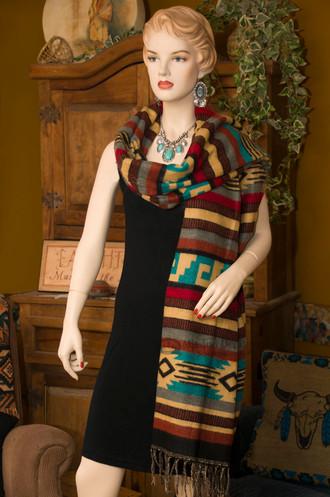 Southwestern Woven Shawl Pueblo Tan -Scarf Style
