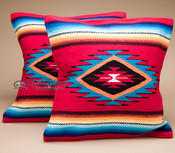 Pair Serape Southwestern Pillow Covers -Red