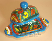 Talavera Hand Painted Butter Dish & Cover