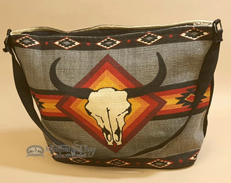 Gray Southwestern Purse With Steer Skull Design