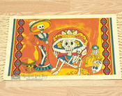 Day of The Dead Cotton Placemat 13x19 - Orange Fiesta Skeletons