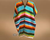 Mexican Style Serape Poncho - Sky Blue