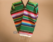 Youth Size Mexican Style Serape Poncho- Green