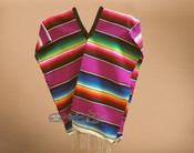 Youth Size Mexican Style Serape Poncho- Red