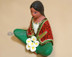 Matte Green Sitting Woman Figurine