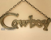 Rustic Western Hanging Metal Art Cowboy Sign