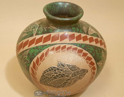 Mata Ortiz Marbled Green Pottery Vase by Juan Mora
