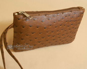 Southwestern Faux Leather Writlet Purse - Brown