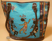 Southwestern Hand Woven Purse - Blue Kokopelli