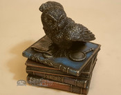 "Southwestern Rustic Bronze Statue 4.5"" - Snow Owl on Books"