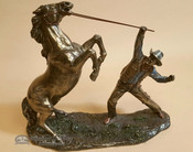 "Bronze Rustic Western Statue 12"" - Cowboy Taming Horse"